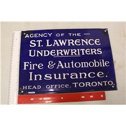 Porcelain Agency of 'The St.Lawrence Underwriters' Fire&Automobile Insurance Sign