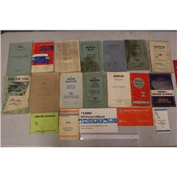 Assorted European Automotive Owners Manuals (Austin, Nash, Etc)