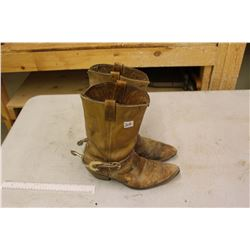 Pair Of Cowboy Boots w/Spurs Size 10