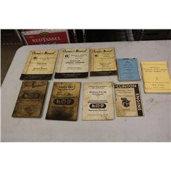 Lot of McCormick Deering Manuals and Parts Lists W/ 1957 Canadian Army Manual OF Training