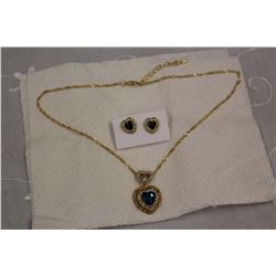 Blue Topaz Gold Plated Set w/Rhinestone Accents
