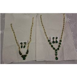 2 Glass Emerald Sets
