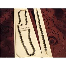 Black Hematite 3 Pc Set (Necklace, Earrings & Bracelet)