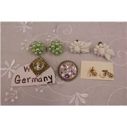 W.Germany Jewellery (Marked Earrings, Scarf Clip)