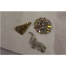 Aurora Borealis Brooches (3)(1950s)(Very Glitzy)