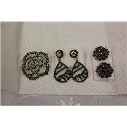 Marcasite Jewellery (Brooch&Earrings (2))