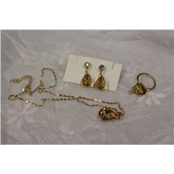 Topaz Gold Plated Set w/Ring (Nov. Birthstone)