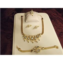 Gold Plated 4 Pc Set (Necklace, Earrings, Bracelet & Ring)