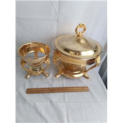 Gold Coloured Chafing Dishes (2) (Large One Has Pyrex Bowl)