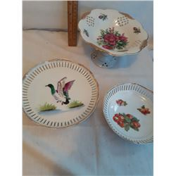 Open Lace Candy Dishes (3) 2 marked Japan, 1 Marked Bavaria