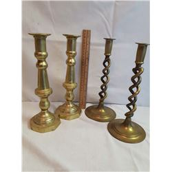 Lot Of Large Brass Candle Holders (2 Pairs)