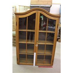 Wooden Curio Stand With Glass Doors And Key, Marked Made In Romania