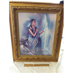 Large Picture Of Native Lady By Waterfall