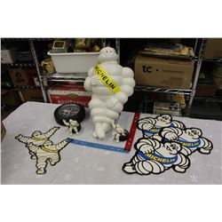 """Lot Of Michelin Advertising Related (Bibendum Figure, 18"""" High, To Be Mounted)"""