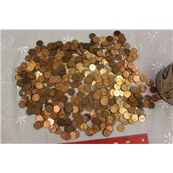 Huge Lot of Pennies In A Zig-Zag Tin