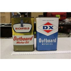 Pair Of Outboard Motor Oil Tins (Richfield, DX)