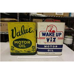 Wake Up Viz And Value Vintage Two Gallon Motor Oil Tins