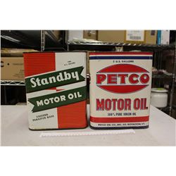 Petco And Standby Vintage Two Gallon Motor Oil Tins