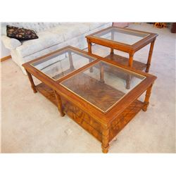 Wood Coffee Table And End Table With Glass Tops, LIKE NEW! (48 x27 x16 and 27 x21 x22 )