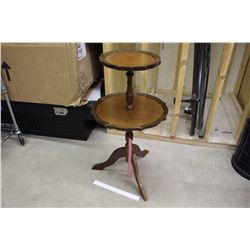 2 Tier Wooden Pie Crust Table (31  Tall)