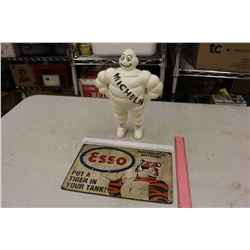"Michelin Tire Advertising Man (12"" Tall) & A Tin Esso Sign"