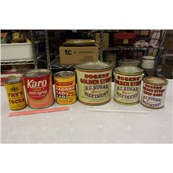 Lot of Kitchen Tins (6)(Syrups, Cocoa, Etc)