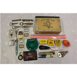 Cigar Box Full w/Advertising Misc (Bottle Openers, Pens, Etc)