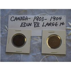 Canada 1903 And 1904 Large 1 Cent Coins