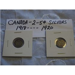 Canada Silver 5 Cent Coins (2) (1918, 1920)