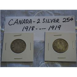 Canada Silver 25 Cent Coins (2) (1918, 1919)