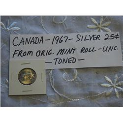 Canada 1967 Silver 25 Cent Coin, U.N.C From Orig Mint Roll