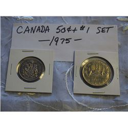 Canada 1975 50 Cent And 1 Dollar