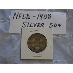 NFLD 1908 Silver 50 Cent coin