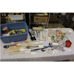 Lot of Kitchen Related w/Tub(Utensils, Silverware, Knives, Baking Related, Etc)