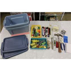 2 Small Rubbermaid Tubs w/Misc (Tools, Pens, Etc)