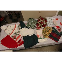 Lot of Christmas/Holiday Table Cloths & Place Mats