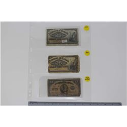 Dominion of Canada Bills (3)(1900 25 Cent Bills (2)& A 1923 25 Cent Bill)