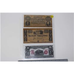 USA Reproduction Bank Notes (3)