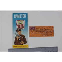 1962 Hamilton White Rose Map & A 1947 McColl-Frontenac Oil Company Canceled Cheque