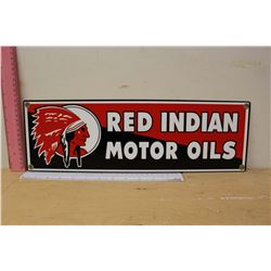 "Reproduction Red Indian Motor Oil Sign (18""x5.5"")"