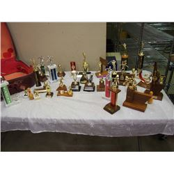 Huge Lot Of Vintage Trophies W/ Vintage Suitcase