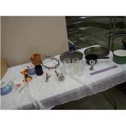 Lot Of Vintage Misc. (Glasses, Silver Platters, Bowling Pin, Enamel)