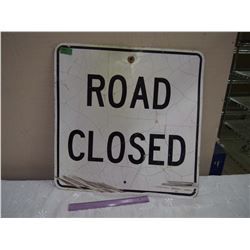 "Metal Road Closed Road Sign, 24""x24"""