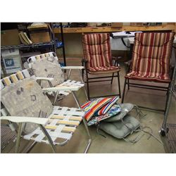 Folding Patio Chairs (4) W/ Cushions