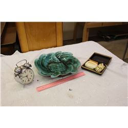 Lot Of Vintage Misc. (Blue Mountain Pottery, Remington Shaver, Alarm Clock)