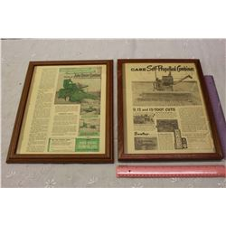 Framed Case And John Deere Advertisement