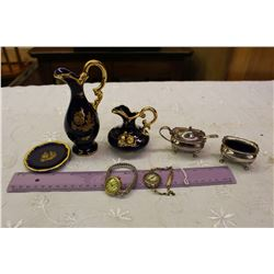 3 Piece Limoges French Porcelain, Pair Of Stamped Silver Salt Cellars & Vintage Watches (2)