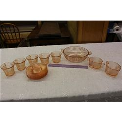 Pink Depression Glass Dish Set (No Cracks or Chips)