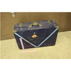 "Vintage Navy Blue Metal Suitcase (28""x10""x18"")"