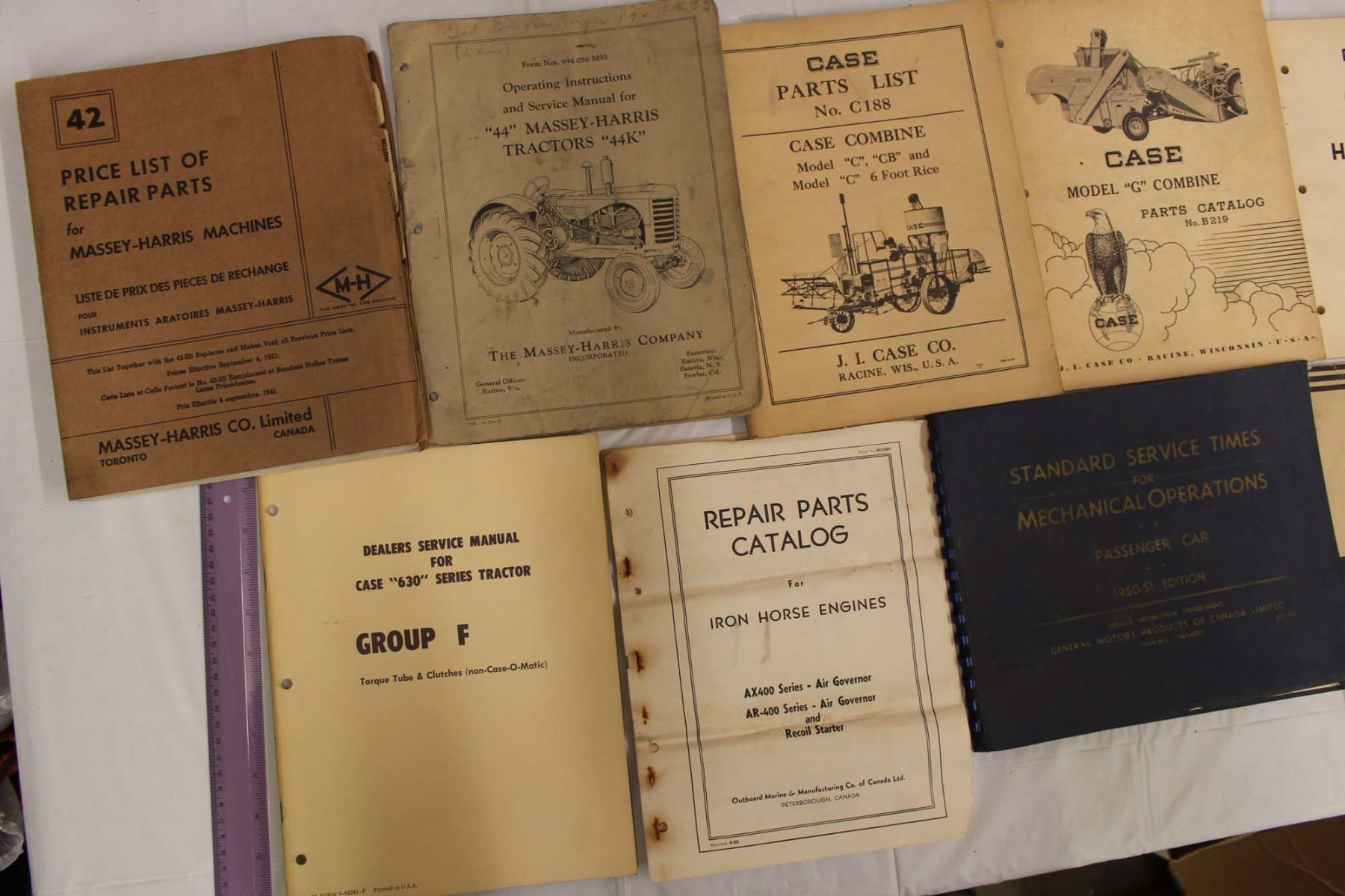 ... Image 2 : Lot of Tractor Service and Part Manuals (Massey-Harris, Case  ...
